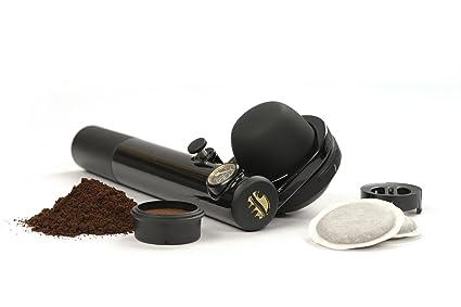 Handpresso Wild Hybrid - Cafetera Portátil Monodosis o Molido, 16 bar de presión, negro