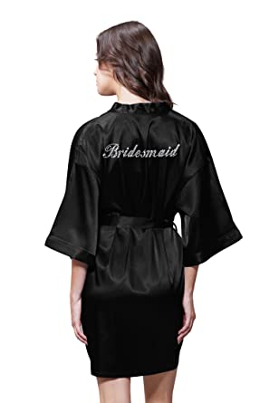 35a04359ff Turquaz Linen Satin Kimono Rhinestone Bridesmaid Robe at Amazon ...