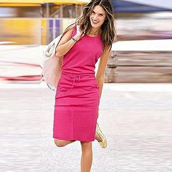 CAOQAO elegancka damska sukienka balowa, sukienka ślubna, odświętna, sukienka bez rękawÓw, elegancka sukienka balowa, na lato, na plażę, na co dzień, na imprezę: Odzież