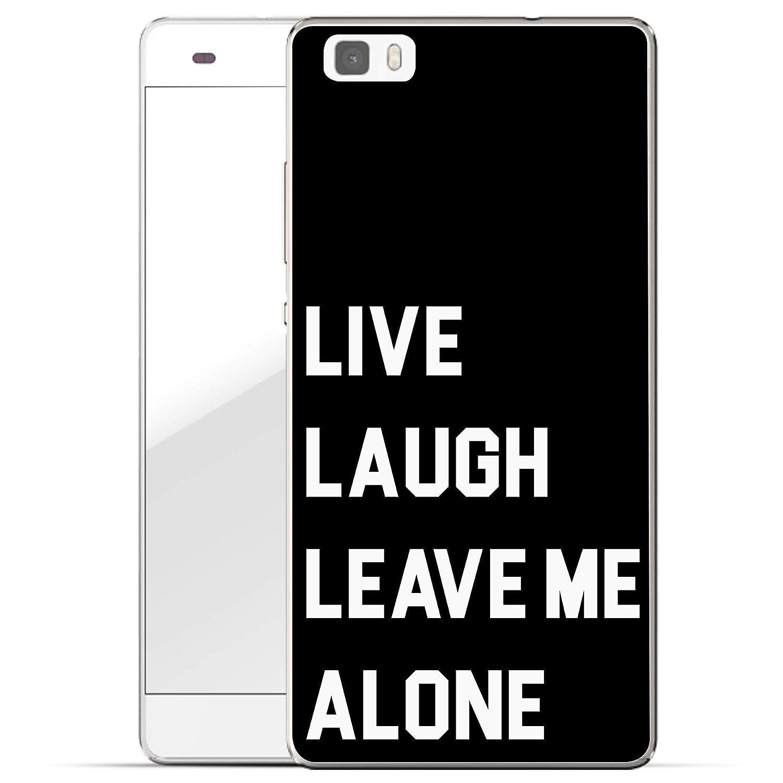 Finoo Huawei P8 Weiche flexible Silikon-Handy-Hülle | Transparente TPU Cover Schale mit Motiv | Tasche Case Etui mit Ultra Slim Rundum-schutz | Schwarze Textur