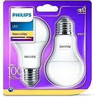 Philips Lighting 929001234561 Philips Lampadina LED, Warm White Goccia, Attacco E27, 13 W Equivalenti a 100 W, 2700K, Blister Doppio, Bianco, 2 unità