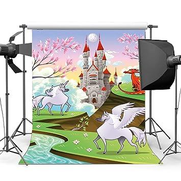 EdCott Vinilo 3X5FT Telón Fondo Unicornio Dibujos Animados ...