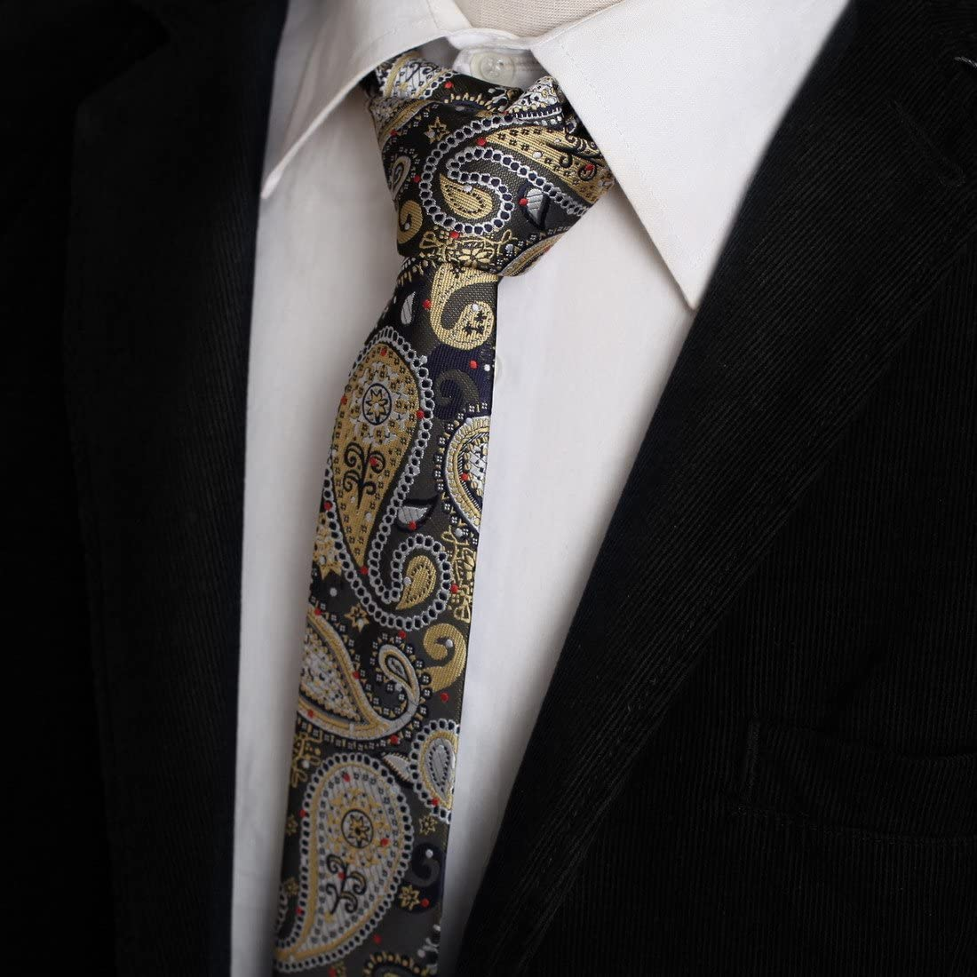 Epoint EAEB0143 Black Turquoise Paisley Silk Thin Ties Exporters For Travel Skinny Tie