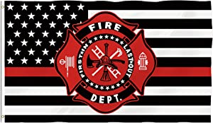 Hexagram Thin Red Line USA Flag - Fade Resistant Double Sided and Double Stitched - Firefighter Flag Polyeste with Brass Grommets Polyester Fireman Pride Outdoor Decor