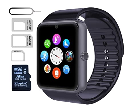 eMARS smart1899 Smart Watch GT08 Bluetooth with 16 GB SD Card and Sim Card Slot for Android Samsung S5 S6 Note 4 5 HTC, Sony, LG and iPhone 5/5S/6/6 ...