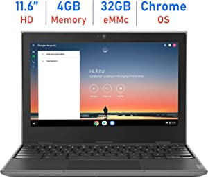 Lenovo 100e 11.6-inch HD Anti-Glare Display Chromebook Laptop, Quad-core MediaTek MT8173C Up to 2.1GHz, 4GB RAM, 32GB eMMC, PowerVR GX6250, Webcam, Bluetooth, Google Chrome OS, 64GB Micro SD Card