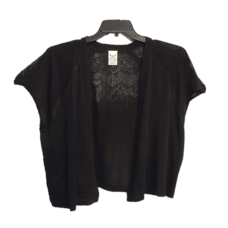 0f557672c992 Faded Glory Very Black Open Front Weave Knit Crochet Cardigan Jacket ...
