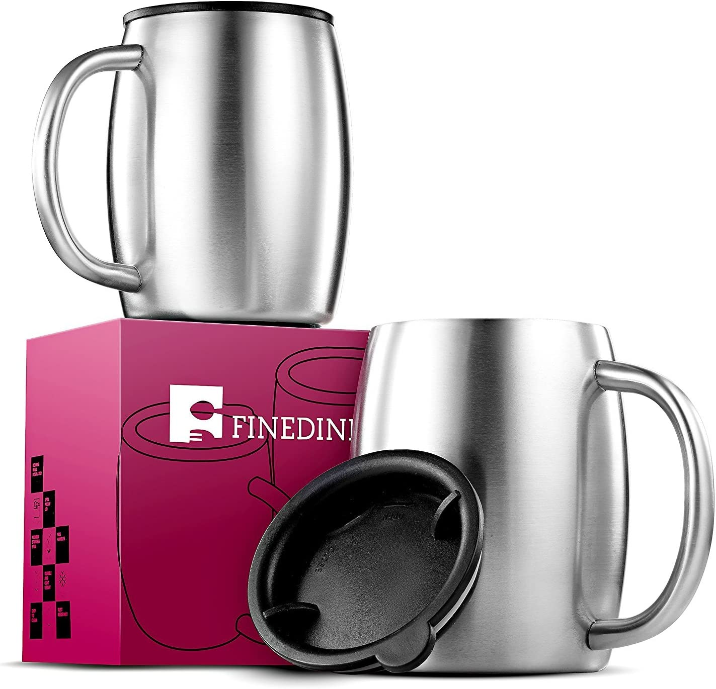Insulated Stainless Steel Coffee Cups (Set Of 2) BPA Free Spill Proof Lid Double Wall Camping Travel Mugs With Handle Tough & Shatterproof Coffee &