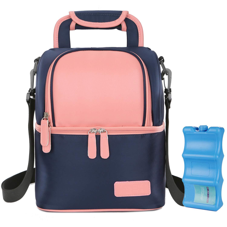 Insulated Baby Bottle Bag, Multi-Function Breastmilk Cooler Bag & Lunch Bag, Fit as Wine Carrier or for Milk Bottles Like Dr. Brown, Comotomo, Philips Avent, Nuk, Lansinoh, etc. (Pink) by Zerlar