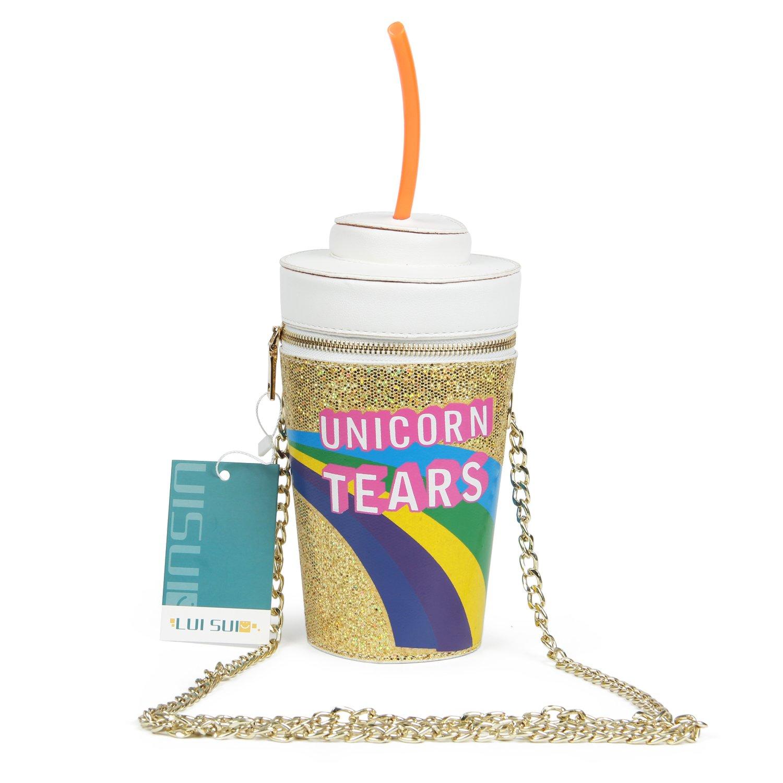 LUI SUI 2017 Unicorn Tears Girls Drink Cross Body Bag Chain Purse (Gold)