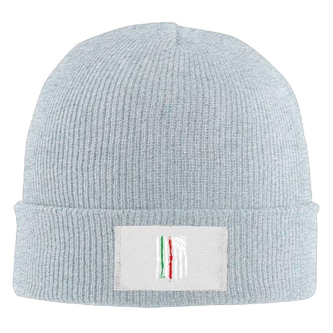 Amazon.com  TQOIAS Italian-American Flag Beanie Hats Ski Warm Wool ... 8437f99aaaa