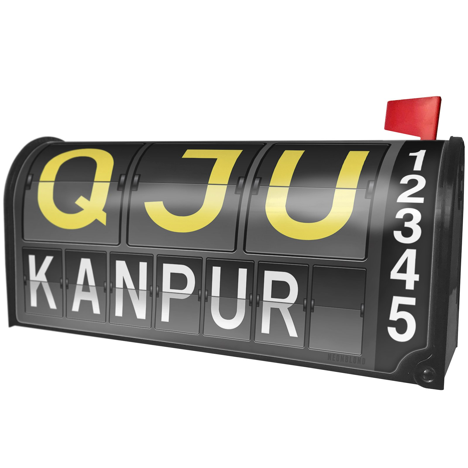 NEONBLOND QJU Airport Code for Kanpur Magnetic Mailbox Cover Custom Numbers