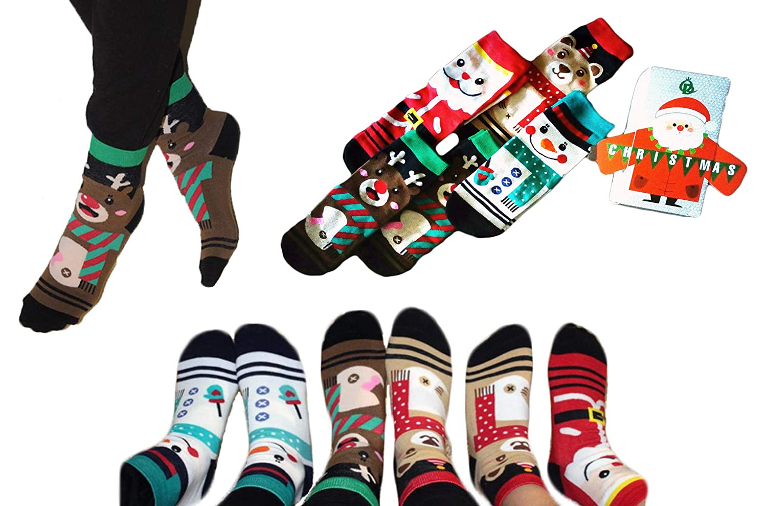 Holidays R Us Christmas Holiday 5-Pack Gift Socks for Women & Kids with Gift Box Nice Sweaters Co. Ltd.