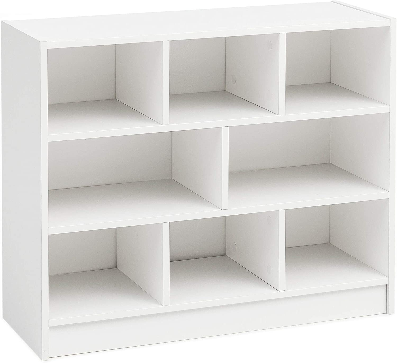 Estantería blanca de 80 x 68,5 x 29,5 cm estantería de pie moderna estantería zapatero de diseño estrecho estantería decorativa de madera con ...