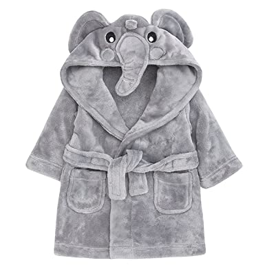 Childrens//Toddlers Soft Fleece Dressing Gown with Animal Hood ~ 6-24 Months