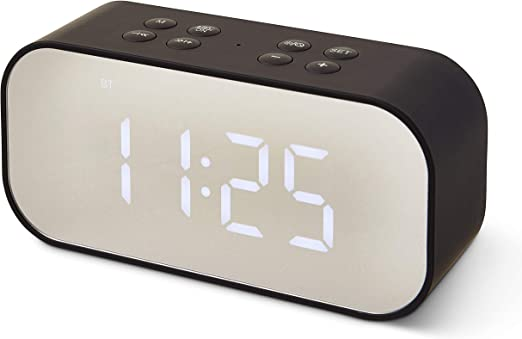 Bluetooth Speaker LED Light with 9-hr Military Time Alarm Clock - Wireless  Speaker, Mirror, Dual-Alarm - Dimmable Display, Hands-Free Calling - 9.9 x