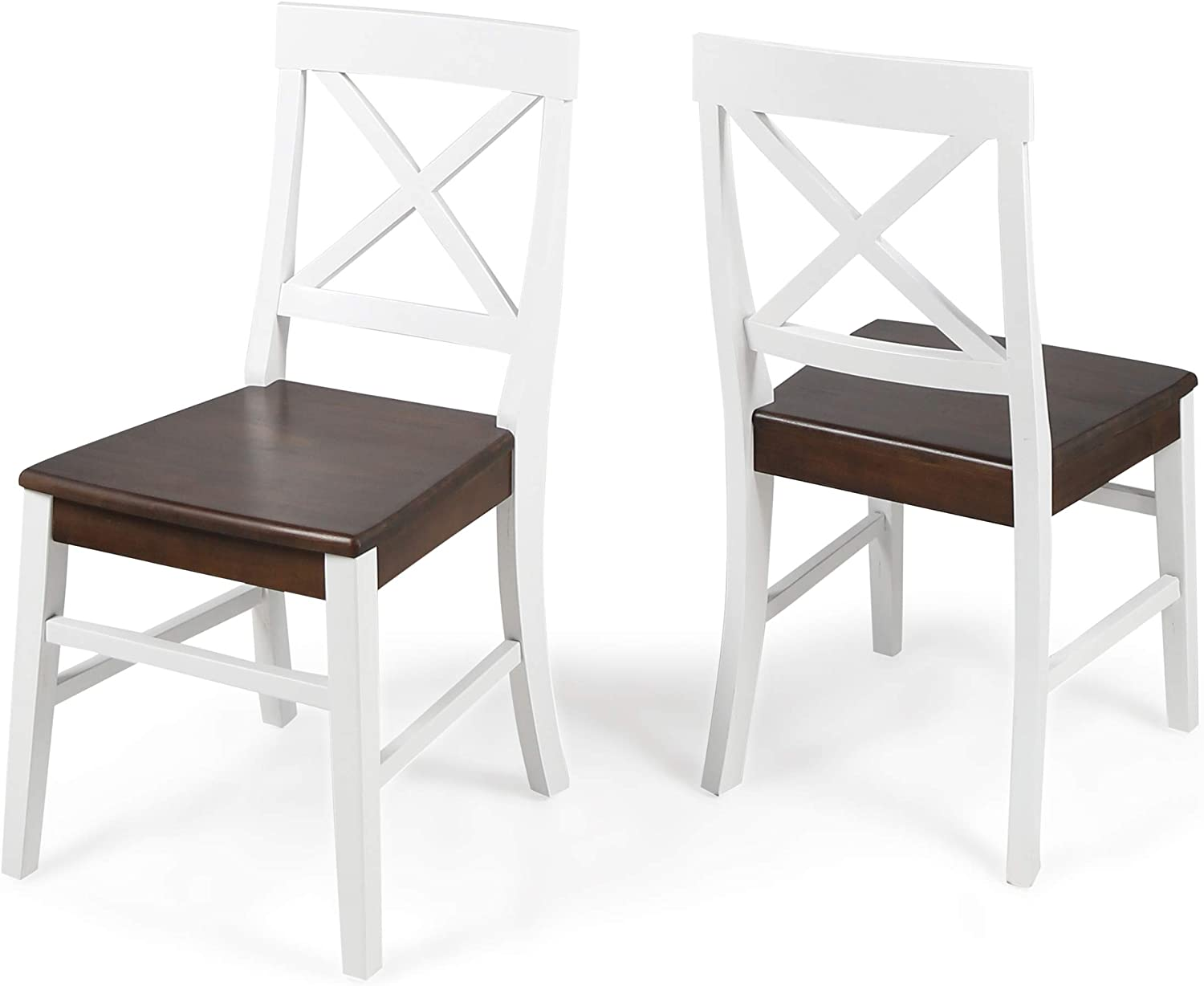 Amazon Com Christopher Knight Home Roshan Farmhouse Acacia Wood Dining Chairs White Walnut Chairs