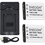 ENEGON Batteria di ricambio (2 pacchi) e kit di ricarica USB per Olympus LI-40B LI-42B LI-40C funziona con Olympus D-630 720 725 IR-300 FE-150 160 190 220 230 X-Series e altre fotocamere