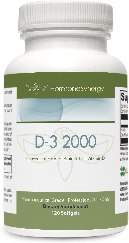 D3-2000 | 120 Softgels | Convenient Form of Bioidentical Vitamin D | Vitamin D3 (cholecalciferol) 2000 IU 500%