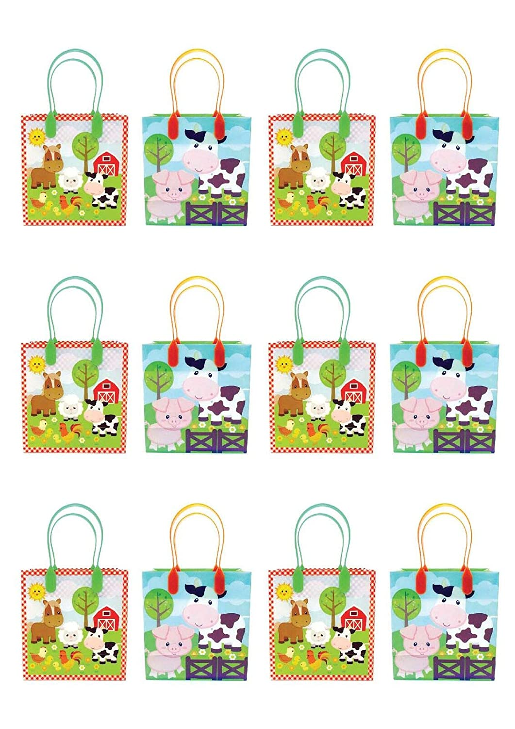 12 Pack TINYMILLS Barnyard Farm Animals Party Favor Treat Bags