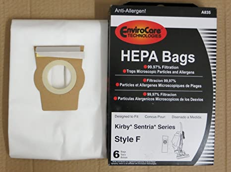 6 White Cloth HEPA Vacuum Bags for Kirby Style F Sentria