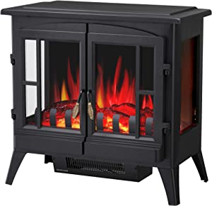 "R.W.FLAME Infrared Electric Fireplace Stove, 23"" Freestanding 2 Door Fireplace Heater, Realistic Flame Effects, Adjustable Brightness and Heating Mode, Overheating Safe Design, 1000W/1500W, Black"