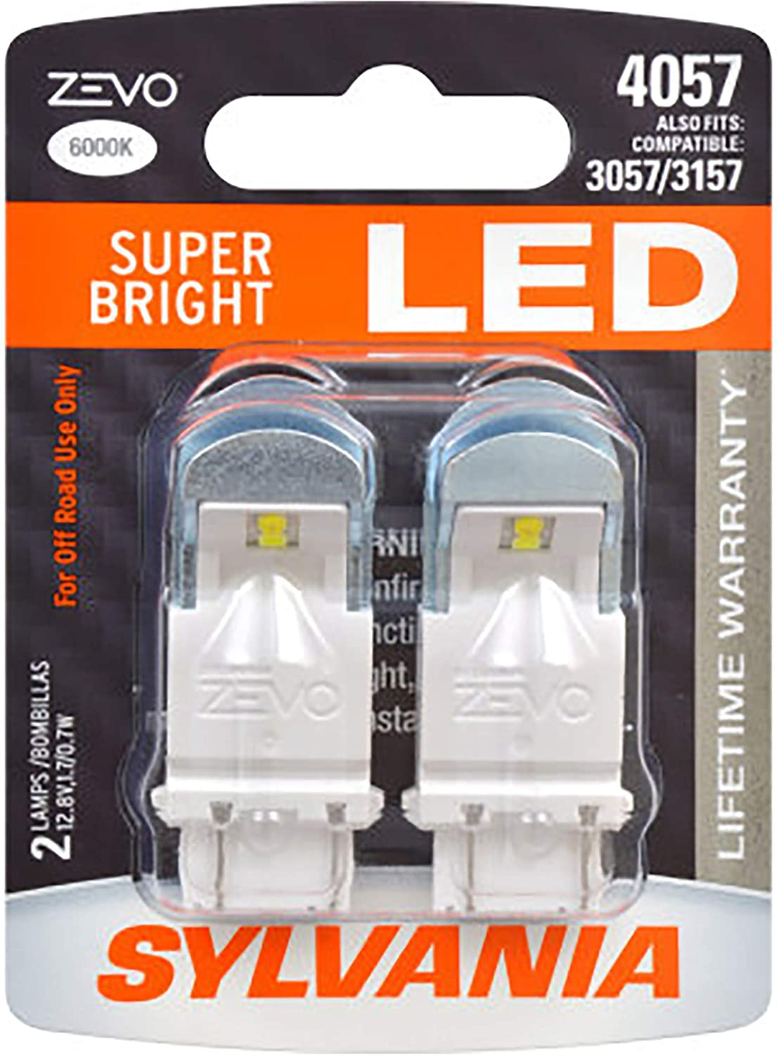 Contains 2 Bulbs SYLVANIA Bright LED Bulb 4057 ZEVO LED Amber Bulb Ideal for Park and Turn Lights