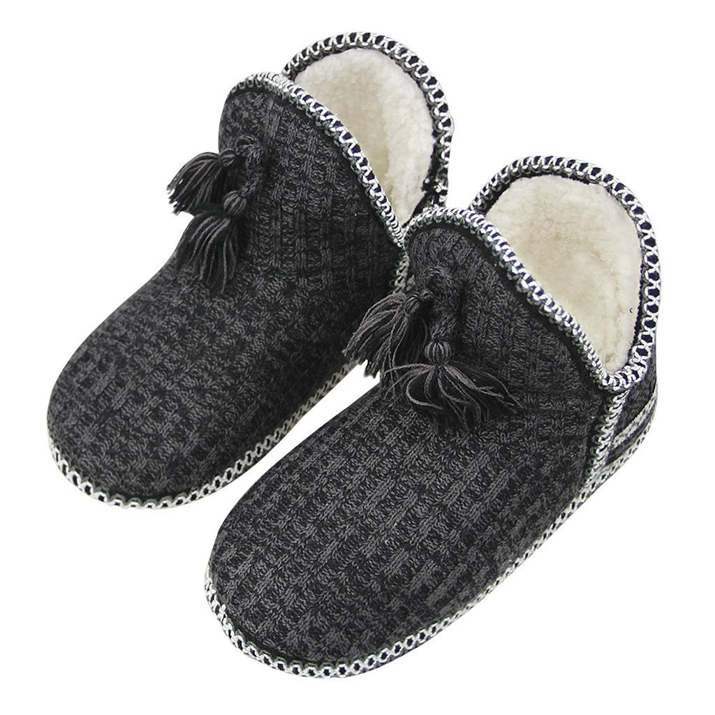 Women Winter Thermal Mute Slippers Ankle Snow Boots Ladies Girls Soft Cozy Plush Fleece Lined Snow Booties House Shoes Knitted Warm Indoor Bedroom Flat Floor Shoes