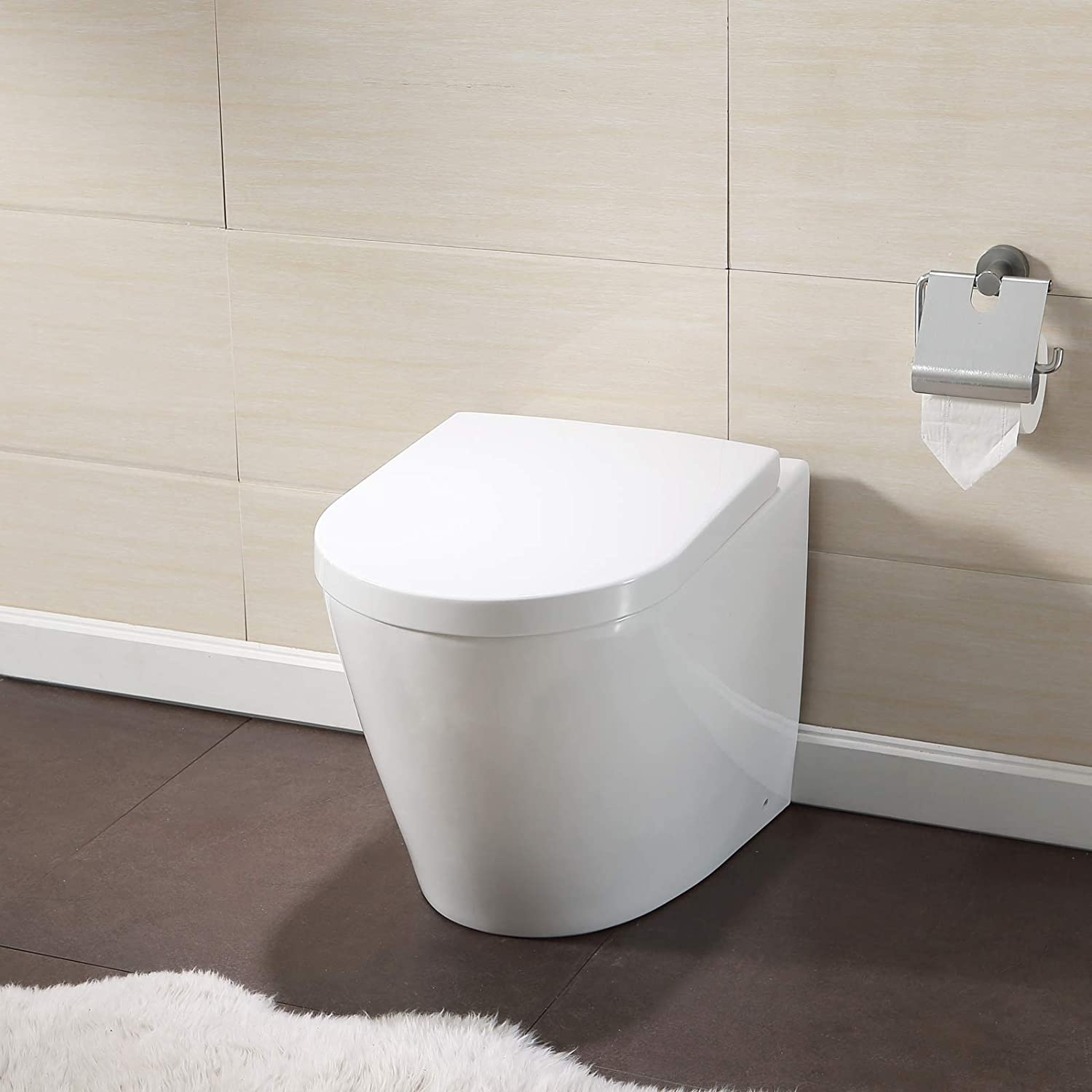 Mecor Back to Wall Toilet Pan & Soft Close Seat Modern Ceramic Bathroom WC