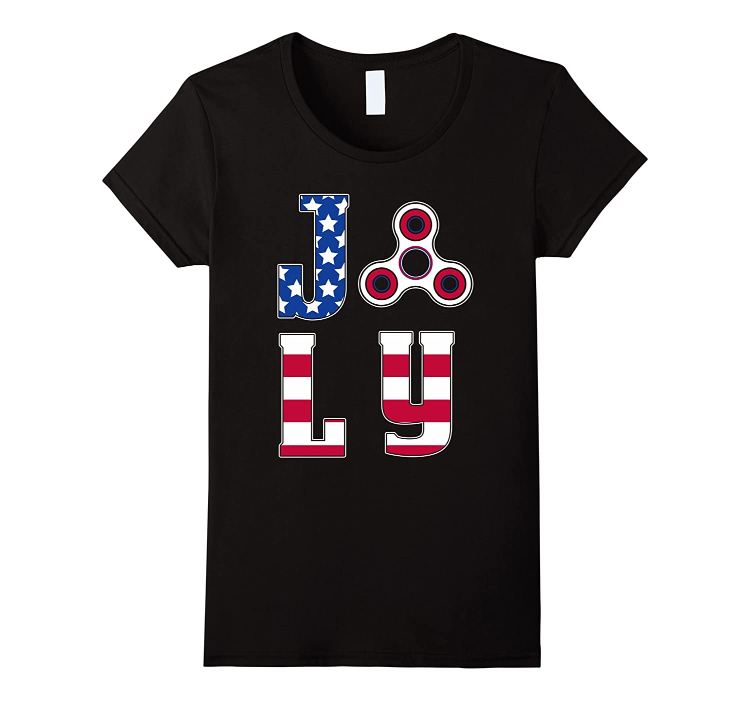 4th July American Flag with Spinner T-shirt Patriotic Cancer