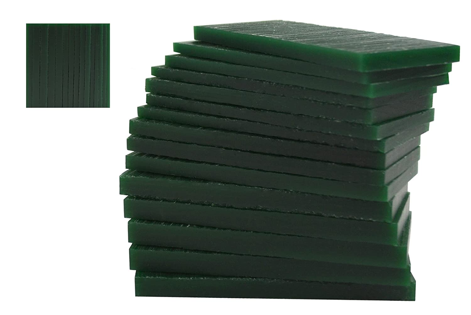 15 Piece Assortment of 1/2 Lb Dark Green Wax Carving Block Jewelry Pattern Making Machining Hard Melting Modeling Wax Slices PMC Supplies WAX-332.25