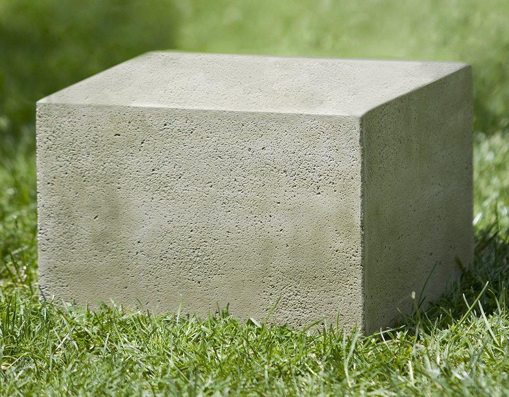 Campania International PD-174-AL Textured Low Square Pedestal, Small, Aged Limestone Finish by Campania International