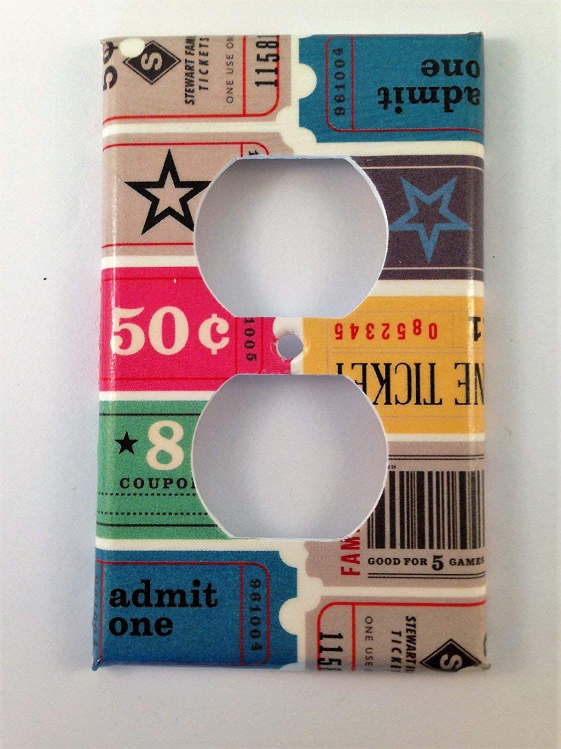 Ticket Stub Light Switch PlateVarious Sizes Offered