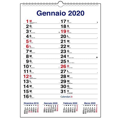Calendario Dicembre 2020 Con Santi.Calendario 2020 Da Muro Mod Xl Con Piu Spazio Per Scrivere