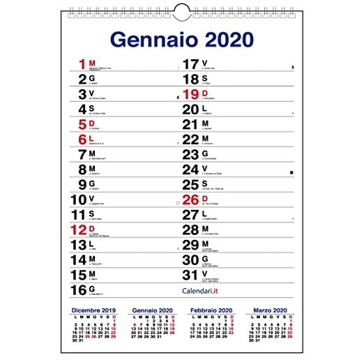 Calendario Febbraio Marzo 2020.Calendario 2020 Da Muro Mod Xl Con Piu Spazio Per Scrivere