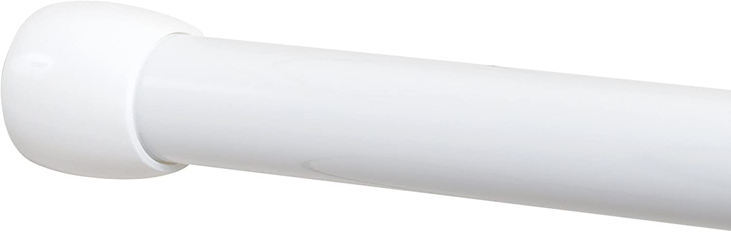 Zenna Home NeverRust Aluminum Tension Shower Rod, 54 to 88-inch, White
