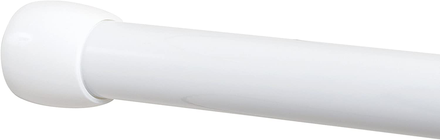 Zenna Home NeverRust Aluminum Tension Shower Rod, 30 to 43-inch, White