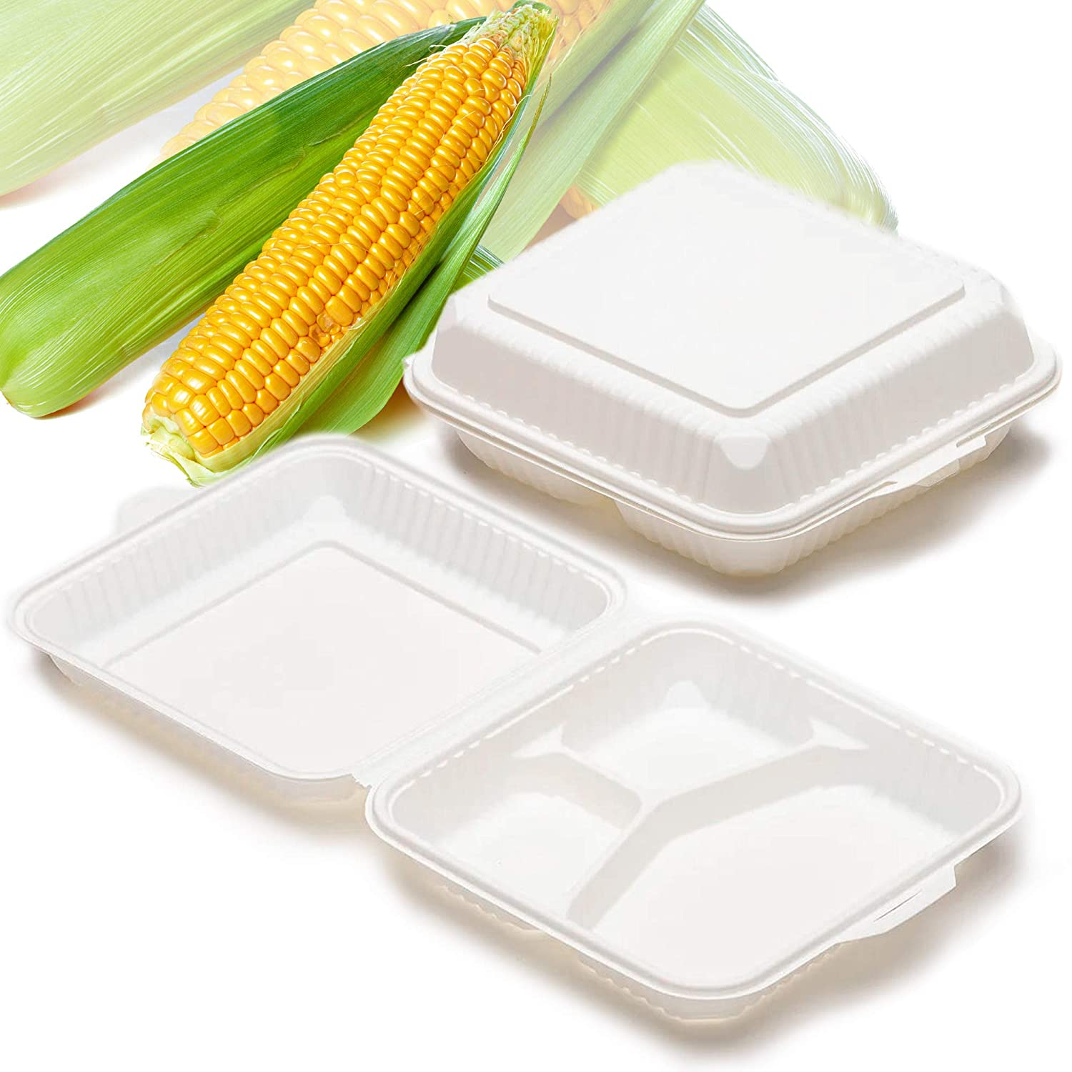 Compostable Clamshell Takeout Containers, 3-Compartments Disposable Eco-Friendly Togo Boxes [9x9