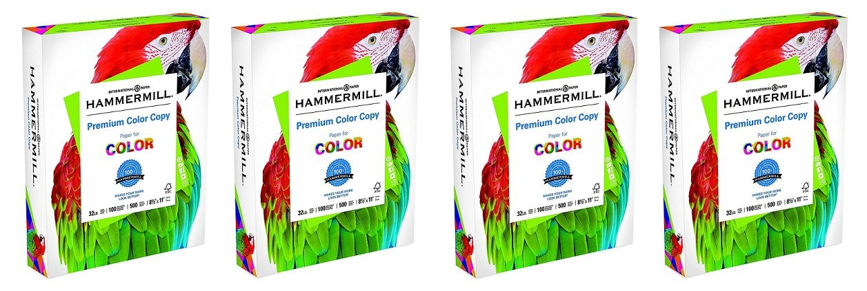 Hammermill Paper, Premium Color Copy, 32lb, 8.5 x 11, Letter, 100 Bright, 1 Ream (102630), Made in The USA (4 X Pack of 500)