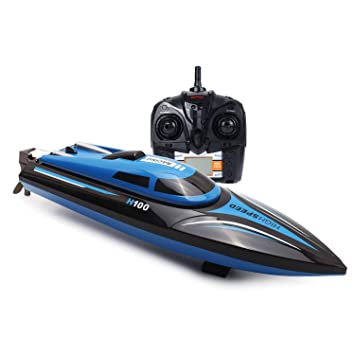 Rc Boat Kingpow H100 Remote Control Boat With High Speed 18mph 2 4ghz Fast Rc Racing Boat For Lakes Pools Ponds Boats Only Works In Water