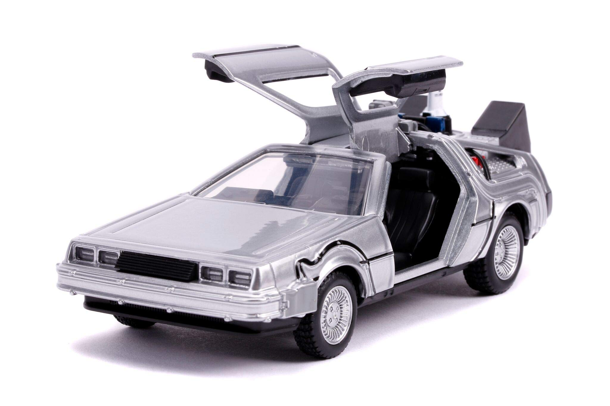 Back to the DeLorean Brushed Metal Time Machine with Lights Flying Version
