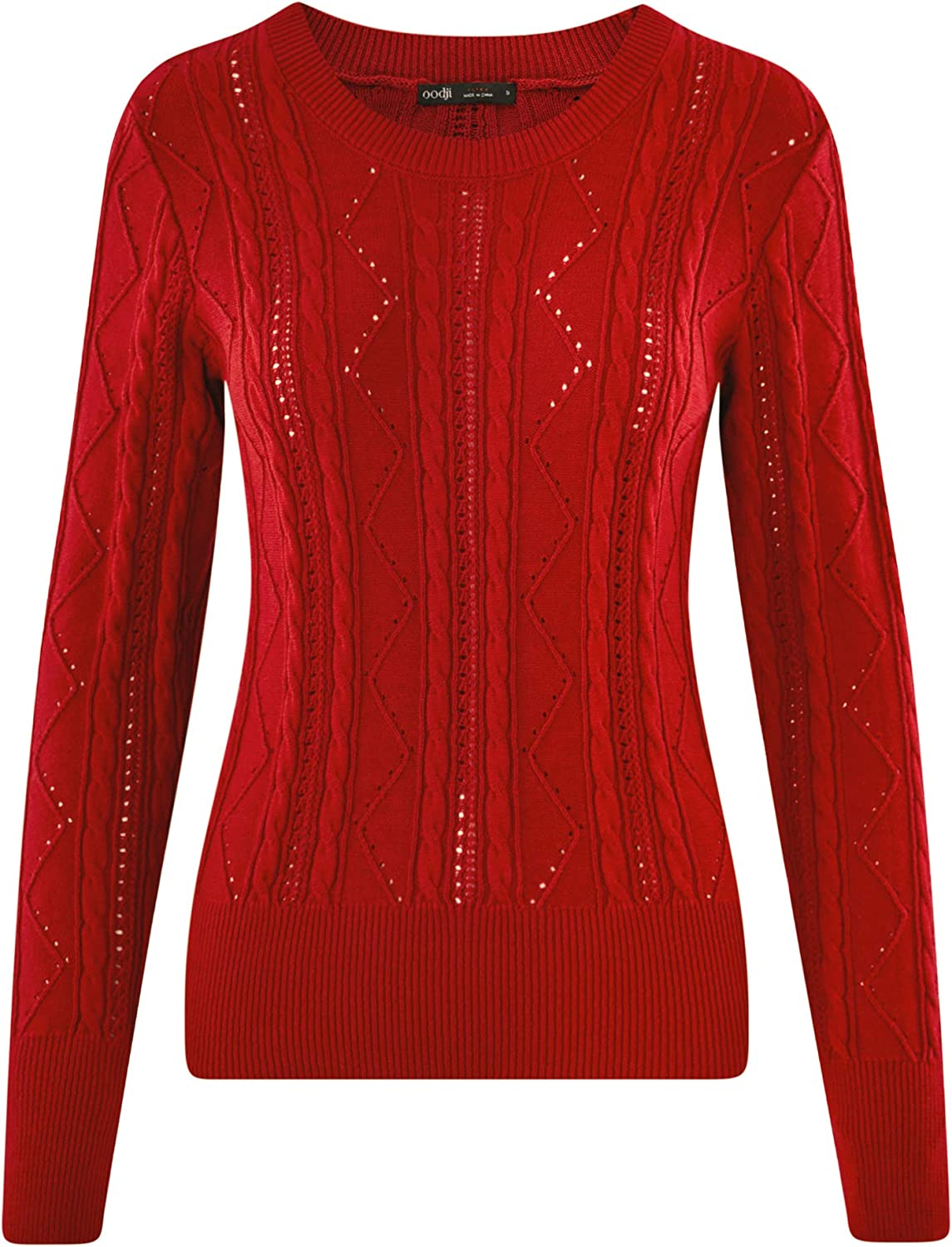 oodji Ultra Womens Textured Crew Neck Pullover