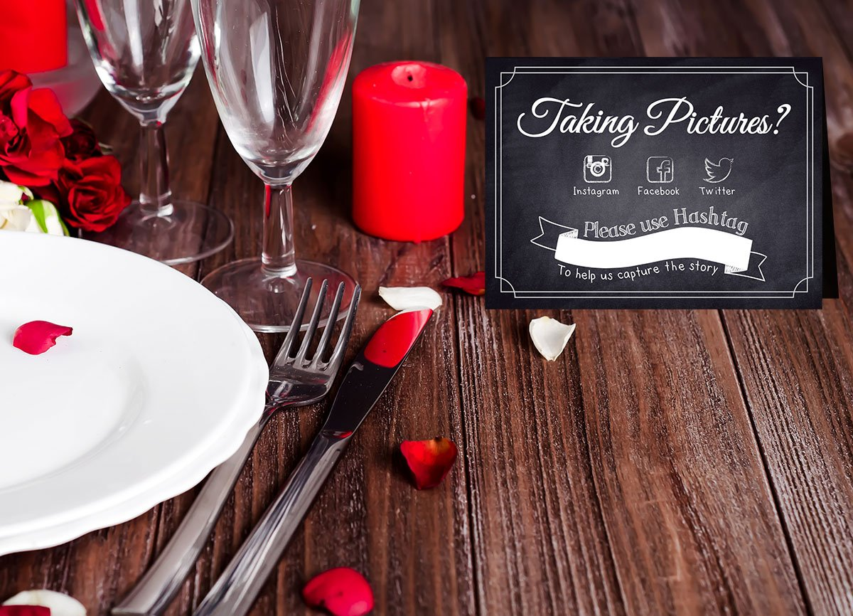 Hashtag Social Media Table Card Signs for Weddings and Parties Chalkboard Style 10 Pack One Lily Press