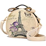 Micom Vintage Round Style Cute Graffiti Mini Pu Leather Cross Body Tote Handbags for Girls