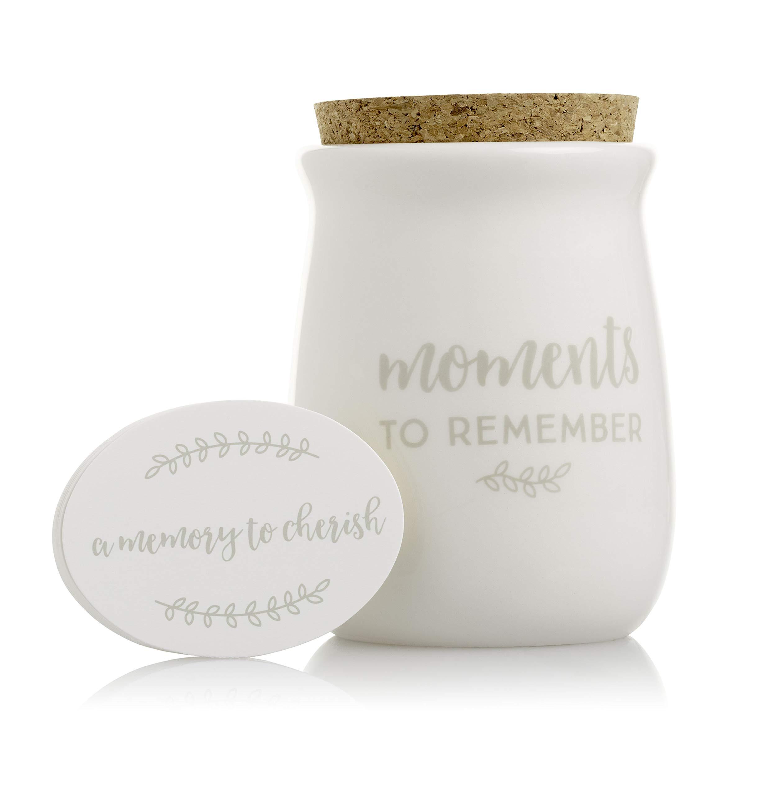 Pearhead Gratitude Jar, Ceramic Blessings Keepsake Jar with Cork Topper & Memories to Cherish Notecards