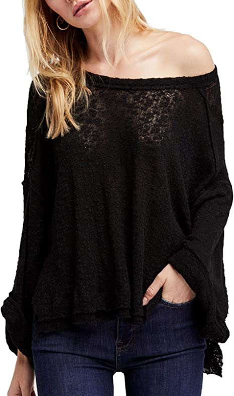 Free People Womens Black Island Girl Hacci Long Sleeve Off Shoulder Sweater Us Size S Amazon Ca Clothing Accessories
