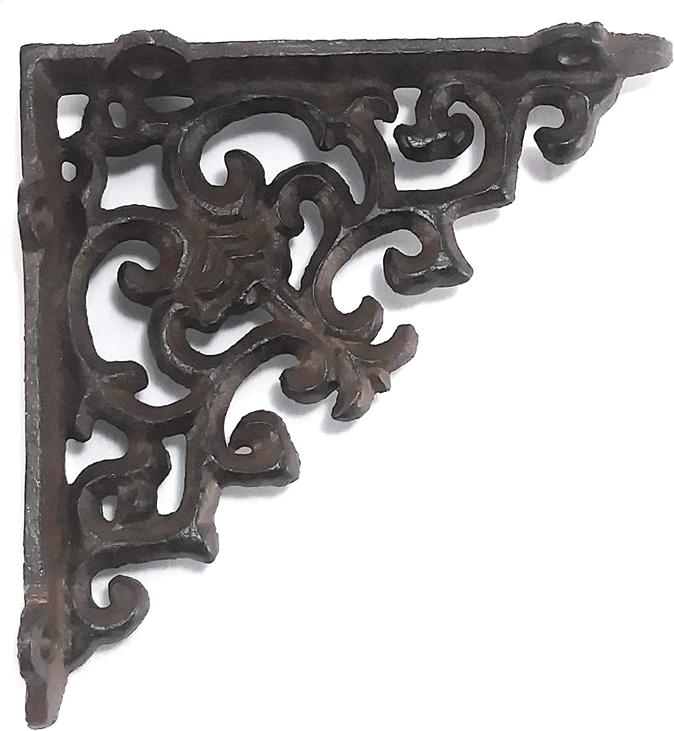 "6 SMALL BROWN ANTIQUE-STYLE 4/"" SHELF BRACKETS CAST IRON rustic garden SCROLL"