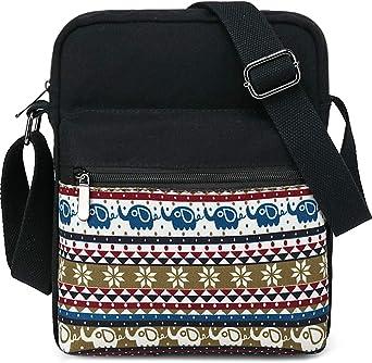 Cute Cuddly Animal Unicorn Pattern Small Black Canvas Shoulder Bag