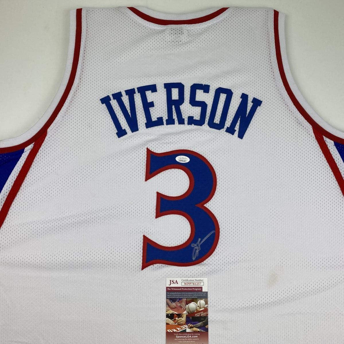 Autographed//Signed Allen Iverson Philadelphia White Retro Basketball Jersey JSA COA
