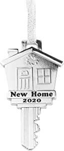 New Home Key Ornament 2020 – New House Key Christmas Ornaments – 4 x 2-inch Christmas Decoration in Silver - with Silver Ribbon (2020)